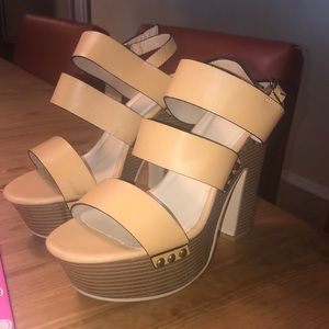 Just fab platform heels wood tan leather